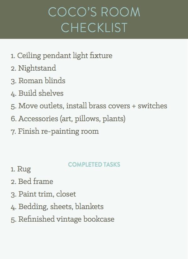 cocos room checklist